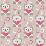Koala with heart seamless pattern Stock Photo