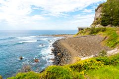 View over the 665 metre long Sea Cliff Bridge, a balanced cantilever bridge along the scenic Grand Pacific Drive in Coalcliff, NSW Royalty Free Stock Images
