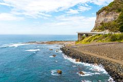 View over the 665 metre long Sea Cliff Bridge, a balanced cantilever bridge along the scenic Grand Pacific Drive in Coalcliff, NSW Royalty Free Stock Image