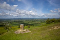 Coaley Peak viewpoint near Nympsfield, Gloucestershire, UK. Coaley Peak viewpoint view from the edge of the Cotswold escarpment near Nympsfield, Gloucestershire stock image