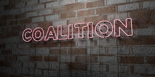 COALITION - Glowing Neon Sign on stonework wall - 3D rendered royalty free stock illustration. Can be used for online banner ads and direct mailers Stock Image