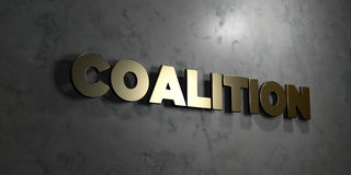Coalition - Gold text on black background - 3D rendered royalty free stock picture. This image can be used for an online website banner ad or a print postcard stock illustration