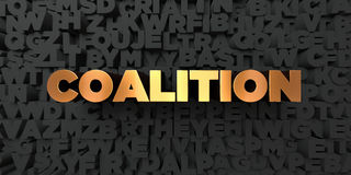 Coalition - Gold text on black background - 3D rendered royalty free stock picture. This image can be used for an online website banner ad or a print postcard Royalty Free Stock Images