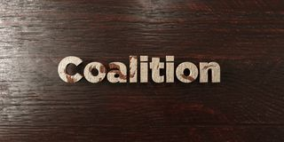 Coalition - grungy wooden headline on Maple - 3D rendered royalty free stock image. This image can be used for an online website banner ad or a print postcard stock illustration