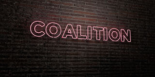 COALITION -Realistic Neon Sign on Brick Wall background - 3D rendered royalty free stock image. Can be used for online banner ads and direct mailers Royalty Free Stock Photos