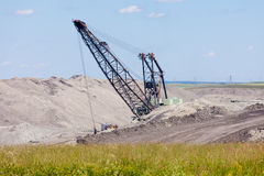 Coalmine excavator machine moonscape tailing Stock Photos