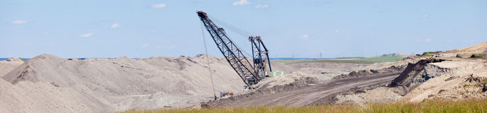 Coalmine excavator moonscape tailings panorama Stock Image