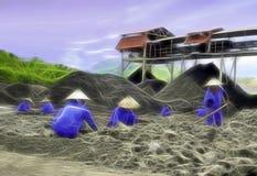 Coalmining och produktion för handbok svart i asia Arkivbilder