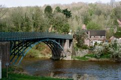 Coalport bro över floden Severn, UK Fotografering för Bildbyråer