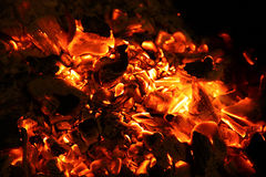 Coals. Heated to it is red coals in a fireplace Stock Photo