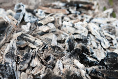 Coals in the ash Royalty Free Stock Photo