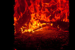 Coals and ashes. Burning fire Royalty Free Stock Photography