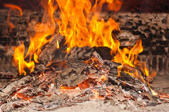 Coals and ashes. Burning fire Royalty Free Stock Image