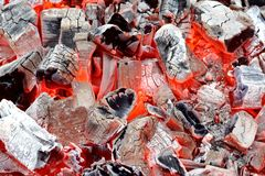 Coals in Barbeque Pit Royalty Free Stock Images