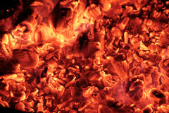 Coals in the big brazier. Royalty Free Stock Image