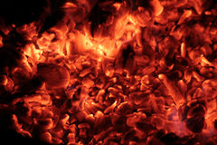 Coals in the big brazier. Royalty Free Stock Images