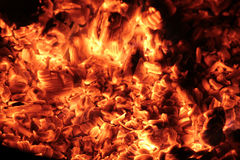 Coals in the big brazier. Royalty Free Stock Photography