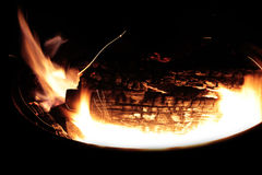 Coals in the big brazier. Royalty Free Stock Photo
