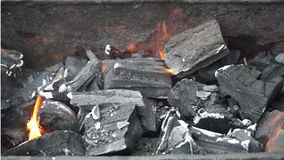 Coals burning in  brazier stock video
