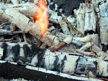Coals of a burning campfire. Close up stock photography