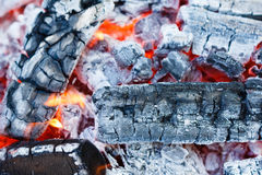 Coals of campfire closeup Stock Photo