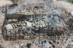Coals in the fire. Stock Photo