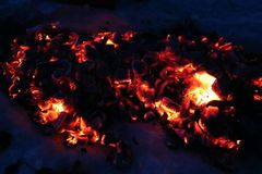 Coals after a fire. You can always look at the coals from the fire stock photos