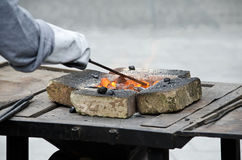 Coals in the forge Royalty Free Stock Image
