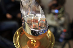 Coals on the orange bowl of shisha Stock Images