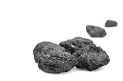 Coals on white background. Copy space Royalty Free Stock Photography