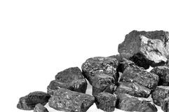 Coals on white background. Copyspace royalty free stock photo
