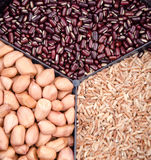 Coarse food grain. :Red rice, red beans and peanuts royalty free stock photography