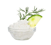 Coarse-grained cottage cheese Stock Photography