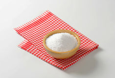 Coarse grained salt. In wooden bowl Royalty Free Stock Photography