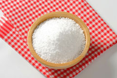 Coarse grained salt. In wooden bowl Stock Photography