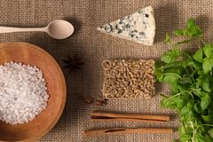 Coarse salt in the old wooden plate, white mold cheese, almonds, cinnamon sticks, mint on old flax tablecloths Stock Photography