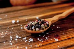 Coarse salt and pepper in a wooden spoon. Coarse salt and pepper in a wooden spoon Stock Photos
