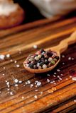 Coarse salt and pepper in a wooden spoon. Coarse salt and pepper in a wooden spoon Royalty Free Stock Photography