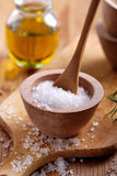 Coarse salt. In small wooden bowl royalty free stock photo