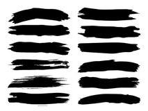 CoArtistic grungy svart målarfärghand - gjord borsteslaglängd stock illustrationer