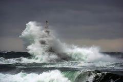 coas盖子海运风暴通知 在阿赫托波尔,黑海,保加利亚港的灯塔  免版税库存照片
