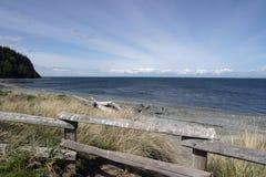 Coast. An empty stretch of coast, with sun rays Stock Photo