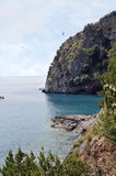 Coast. Picturesque tract of coast with rocks and caves, Palinuro, Italy Royalty Free Stock Photo