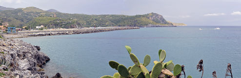 Coast. Wide-shot view of the coast with Marina di Camerota bay, Italy Stock Images