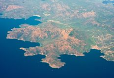 Coast. View from the plane to the European part of the continent and the Mediterranean Sea Stock Image
