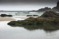 Coast. Rocks on the beach of Santa Comba in the Galician coast , Atlantic Ocean, Spain Royalty Free Stock Photo