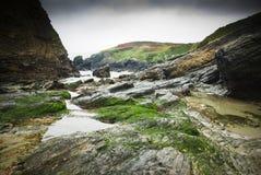 Coast. Rocks on the beach of Santa Comba in the Galician coast , Atlantic Ocean, Spain Royalty Free Stock Image