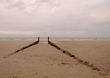 Coast 3. Wooden breakwater on the North Sea coast in The Netherlands stock photos