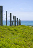 The coast. Barb wire fence and posts along the central California coast. Looking north Stock Photos