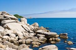 Coast. Summer. Sea coast. Rocky and sandy coast Stock Images